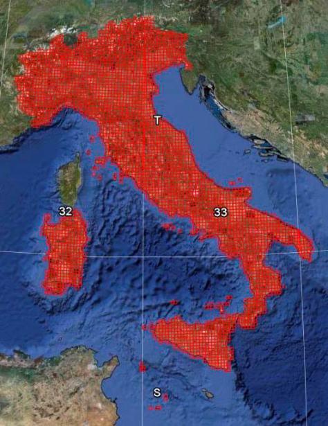 Figura 1: copertura della cartografia UTM