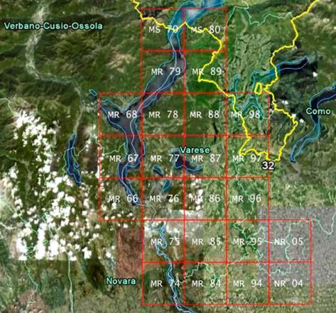 Figura 2: le 24 particelle della griglia UTM che coprono il territorio della provincia di Varese