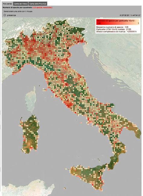 Figura 3: copertura del territorio nazionale dopo i primi due inverni di rilevamento (2009/2010 e 2010/2011).
